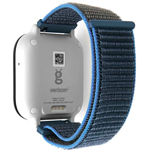 IVAPPON Hook Loop Gizmo Watch Nylon Strap with Quick Release Pins, 20mm Surf Blue Sport Watch Bands Compatible with Gizmo Watch 2/1
