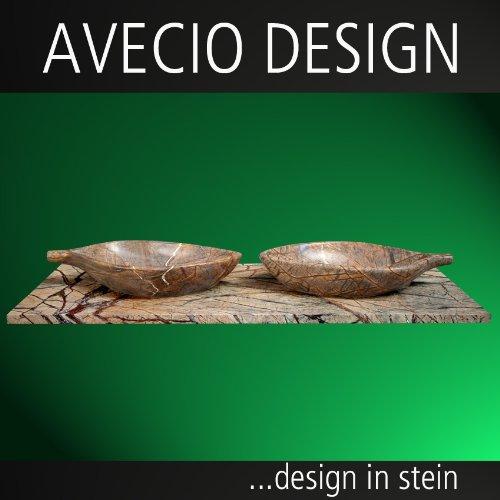 Naturstein Doppel Waschtisch mit Avecio Blattwaschbecken aus Marmor