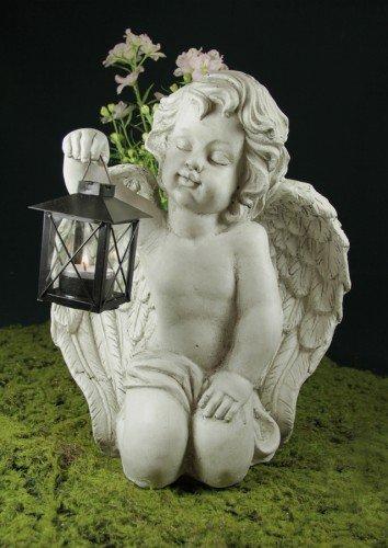 friedhofskerze.de Grabengel knieend mit Laterne für Teelicht