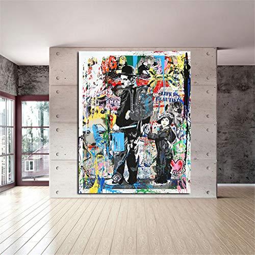 zgmtj Pta156 Pintura Moderna en Lienzo Graffiti Art Prints Charlie Chaplin Pintura al óleo Moderno Arte de la Pared e Impresiones Salón Decoración No Frame 40x60cm