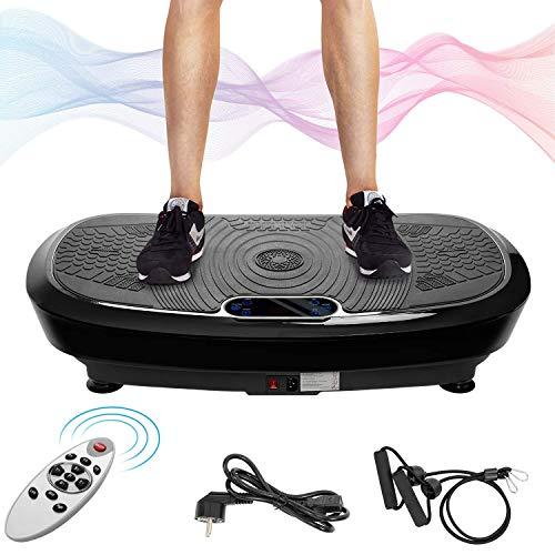 Herefun Plataforma Vibratoria, Máquina de Ejercicio y Masajes, Música Bluetooth + Banda de Resistencia + Control Remoto, Movimiento Oscilante 3D para Perder Peso y Relajar Músculos (Negro)