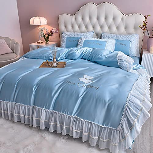 Cotton Sateen King Size,Summer fairy wind ice bedding four-piece set, princess water washing silk silk smooth comfort, breathable down, bed single pillow set of gifts-E_2.0M bed (4 pieces)