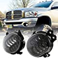 BICYACO New Version LED Fog Light for Dodge Ram 1500 2002-2008 Dodge Ram 2500/3500 Pickup Truck 2003 2004 2005 2006 2007 2008 2009-1 Pair Black
