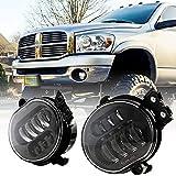 New Version LED Fog Light for Dodge Ram 1500 2002-2008 Dodge Ram 2500/3500 Pickup Truck 2003 2004 2005 2006 2007 2008 2009 -1 Pair Black