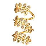U7 Women Statement Knuckle Ring Leaf Ring 18K Gold Plated CZ Long Cocktail Wrap Ring