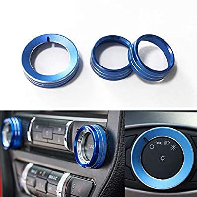 TopDall Sporty Aluminum Center Console Volume Tune Knob Cover Ring Trim Interior Accessories for Ford Mustang 2015-2019