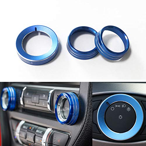 TopDall Blue Aluminum Headlight Volume Tune Control Knob Cover Ring Trim Interior Accessories Compatible for Ford Mustang