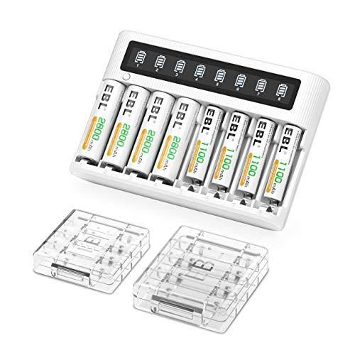 EBL Cargador de batería de 8 Ranuras con batería AA Recargable Ni-MH 2800mAh 4pcs y baterías AAA de 1100mAh 4pcs