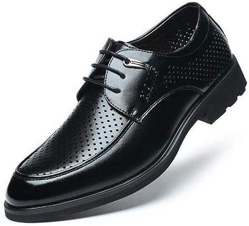 Jiang-ZX Herren Schuhe, Hohlgürtel, Lederschuhe, spitz, Business-Kleid, niedrig, um zu helfen, Herrenschuhe, 43