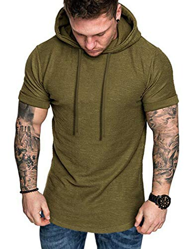 COOFANDY Workout Shirts for Men Muscle T-Shirt Bodybuilding Gym Tee Short Sleeve Hooded Fitted Shirts