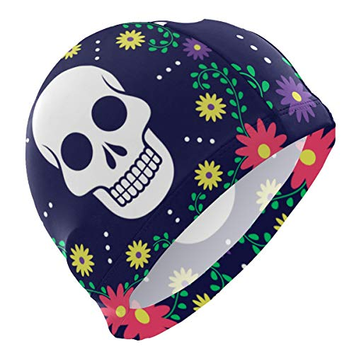 ALINLO - Gorro de natación con diseño de calavera de azúcar de México, con flores, gorro de natación, impermeable, para adultos, hombres, mujeres, jóvenes, niños y niñas