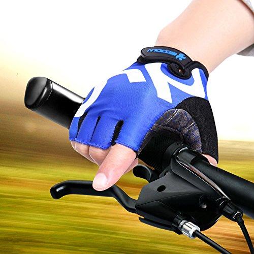 KONVINIT Fahrradhandschuhe Fingerlos Blaues Gummi Gepolstert Frauen & Herren Gym MTB Atmungsaktiv Rutschfestes Draussen Sport Gloves S by - 3
