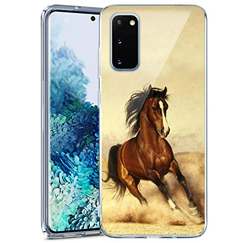 Women Case Compatible with Samsung Galaxy S20 FE 5G, Horse Waterproof Ultra Slim Thin Glossy Soft TPU Rubber Stylish Flexible Protective Case Cover for Samsung Galaxy S20 FE 5G