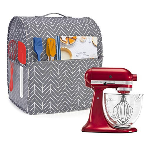Yarwo Dust Cover for 4.5 qt and All 5 qt Stand Mixer, Protective Stand Mixer Cover with Top Handle and Pockets for Extra Accessories, chevron