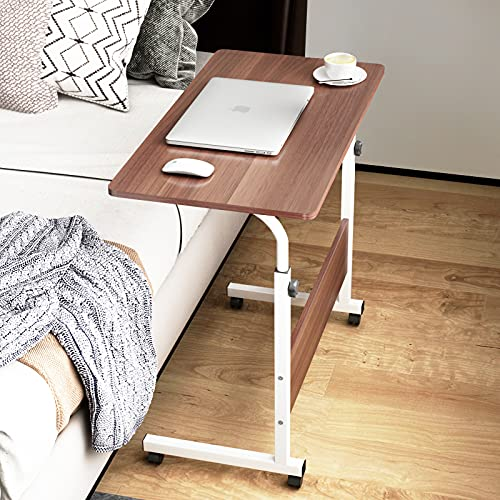 SDHYL 23.6 inches Adjustable Work Stand Mobile Side Desk with Tablet and Mobile Phone Slot Portable Workstation Student Desk Small Snack Table, Bed and Couch Desk, CXYM-5/1-60HW