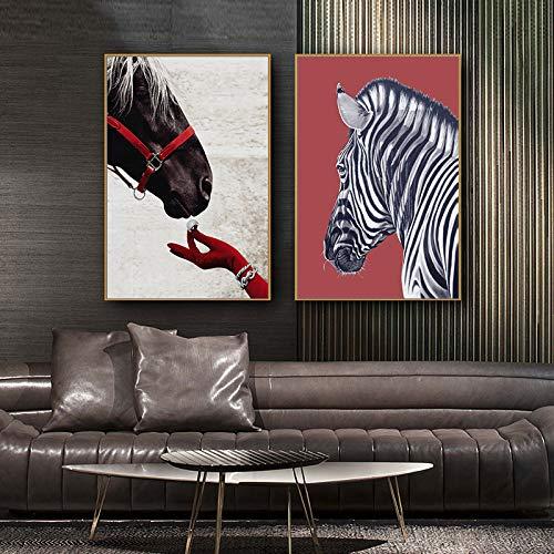 (Geen frame) 60x80 CM Nordic dier paard en Zebra Canvas Schilderij Minimalistische Wall Art Pictures Voor Woonkamer Moderne Woondecoratie Unstretched