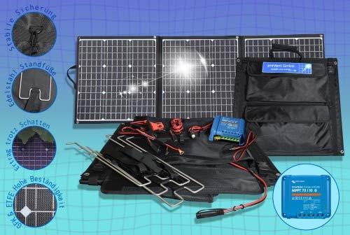 preVent GmbH Solartasche ETFE Oberfläche 135W Solarmodul faltbar mit MPPT Laderegler viel Zubehör Solarkoffer Laderegler Victron Energy 75/10