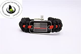 Thin Red Line USA Flag Fire Fighter First Responders Paracord Bracelet