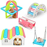 Weraher 5 Pieces Hamster Toys, Rainbow Hamster chew Toys Small Hamster House Bridge Seesaw Swing and Fitness Circle, DIY Wooden Dwarf Hamster Toys for Real Hamsters Healthy Material