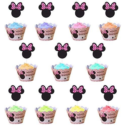WENTS Mouse Kuchendekoration 144 PCS Cupcake-Dekoration Cupcake Toppers und Wrappers Verpackung Handmade für Kinder Party Minnie Kuchen Dekoration Geburtstag Deko Party Gegenstände