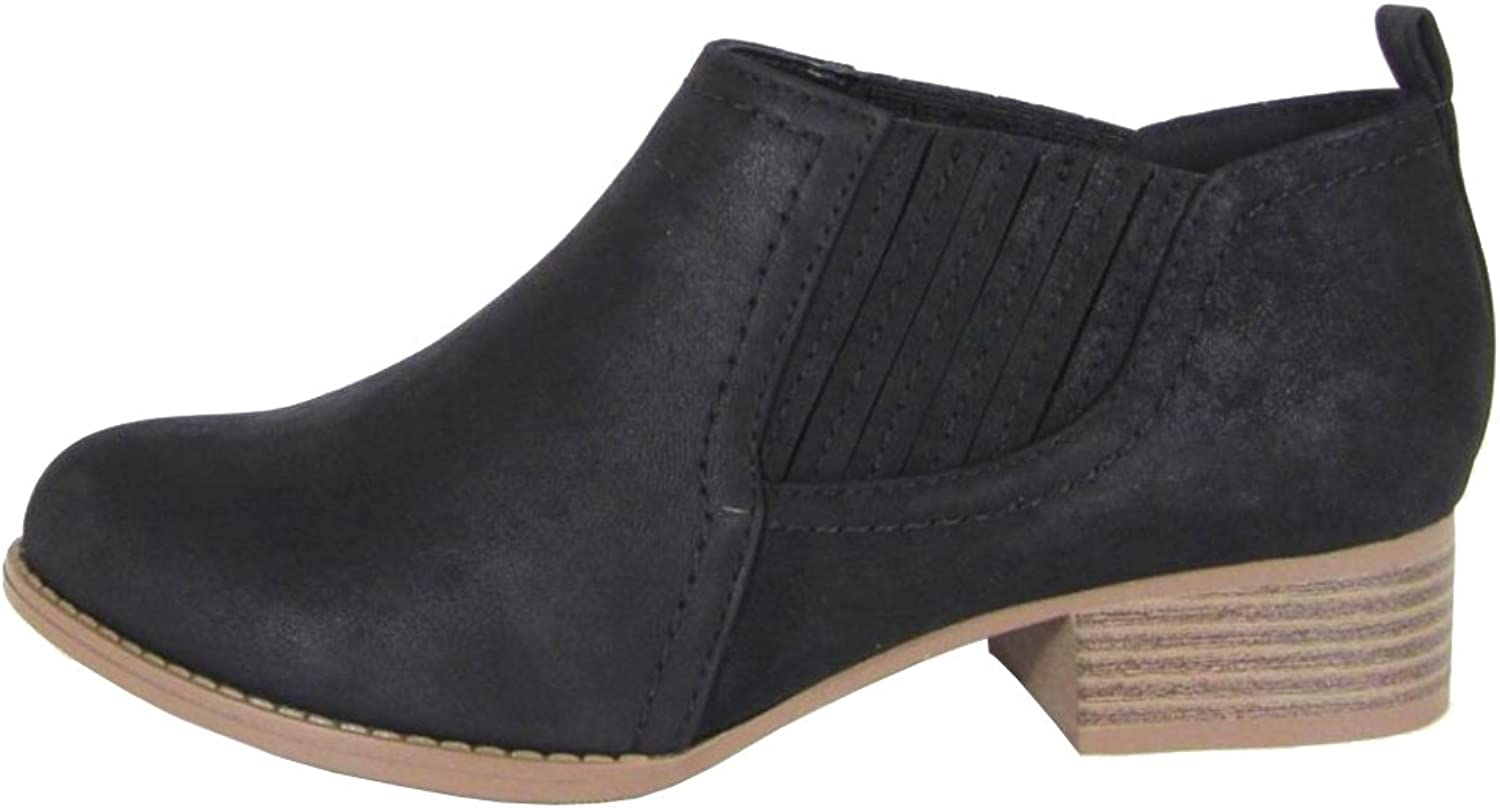 City Classified Women's Western Almond Toe Stacked Chunky Heel Ankle Bootie