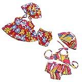 KESOTO 2 Sets Vestidos Florales Bañador Bikini con Braguita Gorro de Baño para Muñecas Americanas de 18 Pulgadas