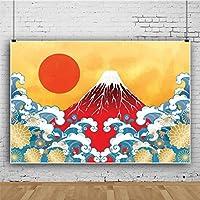 Qinunipoto 写真撮影用 背景布 商品 撮影 布 写真撮影 背景 日本 和風 赤い太陽 火山 波のしぶき 花 撮影用道具 生放送 写真撮影用背景布 飾り 背景紙 背景幕 布背景 装飾 小道具 ビニール 3.5m x 2.5m