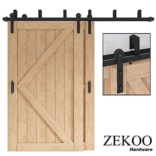 ZEKOO 5-16 FT Bypass Barn Door Hardware Mount Double Door Kit Rustic Black Steel Metal Rail Roller Low Ceiling Bracket Set (8 FT Bypass kit)