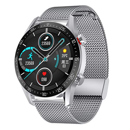 FOTGL 2021 Nuevo Reloj Inteligente Hombres Pantalla Táctil Completa Deportes Fitness Watch IP68 Bluetooth Impermeable para Android iOS SmartWatch Mens (Color : Steel Strip Silver)