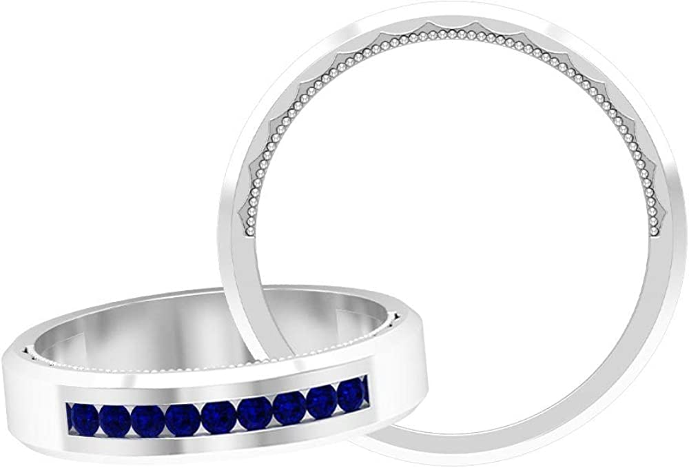 Round Shaped 0.18 CT Blue Sapphire Band Rings, Certified Blue Gemstone Wedding Rings Set, September Birthstone Rings, Unique Bridal Rings Set, 14K Gold
