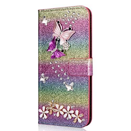 Handyhülle für Samsung Galaxy A40 Hülle Glitzer Schmetterling Blumen Strass Leder Tasche Flipcase Cover Silikon Schutzhülle Handytasche Skin Ständer Klapphülle Schale Bumper Magnet Clip