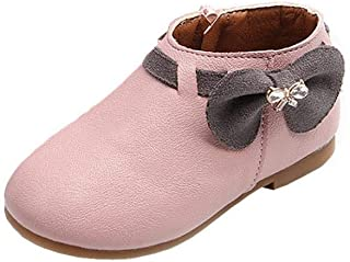 Voberry Baby-Girl's Toddler Children Fashion Bowknot Sneaker Boots Zipper Casual Shoes