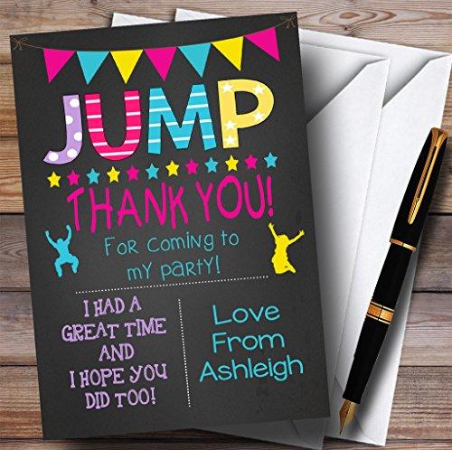 10 x Uitnodigingen Krijt Meisjes Jump Trampoline Party Dank U Kaarten
