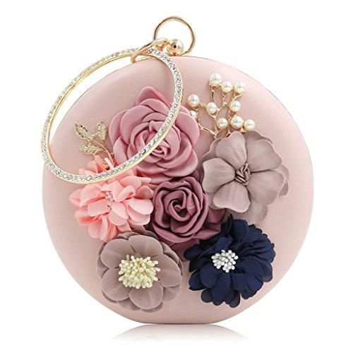 Wanfor Frauen Runde Mini Abendtaschen Geldbörsen Clutch Chic Bankett Handtasche (Rosa)