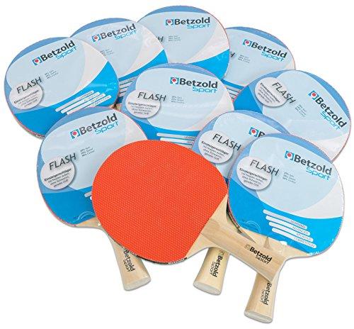 Betzold 34437 - Tischtennisschläger Flash, 10er Set, Sport, Konkaver Griff - Tischtennis-Set Gruppenset Schule Schläger Kinder Schüler Training Tischtennisschlaeger Set Tischtennisset