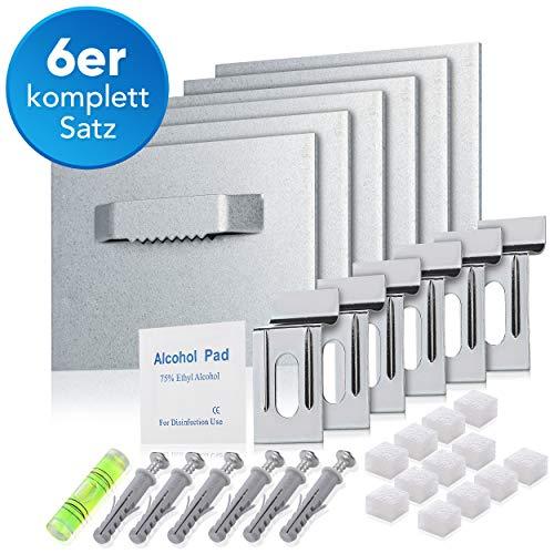 Pearway® - selbstklebende Bilderaufhängung für Bilder aus Acrylglas, Acryl, Alu-Dibond oder Spiegel - [6er Set] - extra starke 3M Klebefläche - Komplett-Set