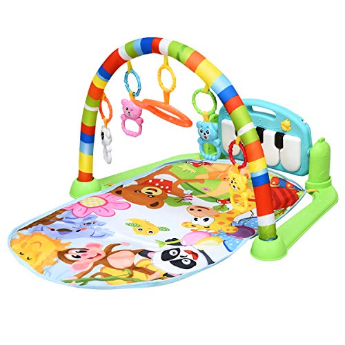 BABY JOY Baby Play Mat Explore Activity Musical Gym, Kick and Play Newborn Mat with Detachable Piano, Foot Gym Carpet Piano Fitness Rack, 4 Rattle Pendants and 1 Mirror, Ideal for Baby Room (Rainbow)
