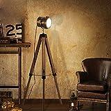 QEGY LED Lampara Pie Madera, Foco de Pie Tripode Vintage Industrial Ajustable, Decorativa Cine Sobremesa Lampara Salon para Estudio y Dormitorio
