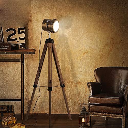 QEGY Stehlampe Stativ aus Holz, LED Vintage Stehleuchte mit Lampenschirm in Kupfer, Verstellbare Bodenleuchte im Retro-Design, Bodenlampe für Wohnzimmer Esszimmer