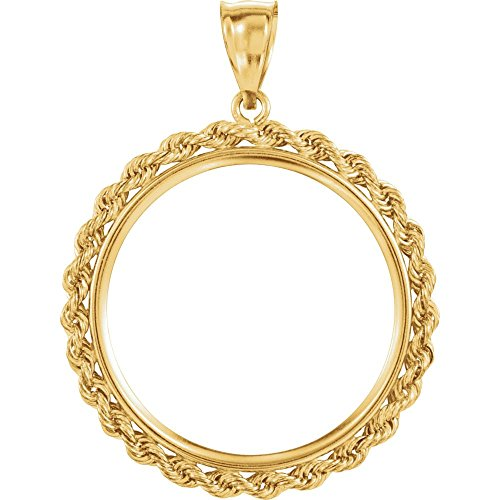 Colgante de oro amarillo de 2,5 mm con lengüeta de cuerda maciza para monedas sudafricanas de 1 onza de águila americana o 0,45 l modelo 9cpaMc7