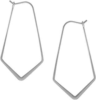 Geometric Chevron Threader Hoop Earrings - Hypoallergenic Lightweight Cutout Thin Wire Drop Dangles - Plated in 925 Sterling Silver or 18k Gold, by Humble Chic NY
