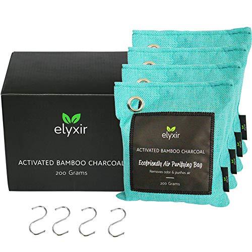 Elyxir 200 g Bambuskohle Luftreinigungsbeutel (4 Stück)   100 % Aktivkohle Geruchsvernichter und Absorber   umweltfreundlicher Holzkohle Geruchsentferner für Zuhause, Schrank, Bad und Auto (4 x 200 g)