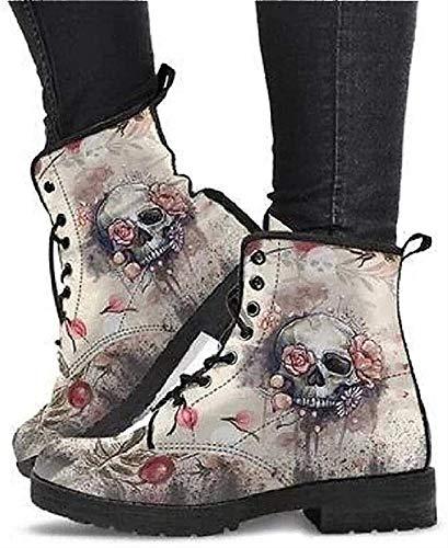 Damen Vintage Leder Biker Stiefel Schnürschuhe, British Fashion Waterproof Skull Boots (Color : Grey, Size : 38)