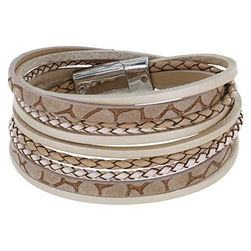 StarAppeal Armband Wickelarmband mit Flechtelement, Magnetverschluss Silber, Damen Armband (Hellbraun)