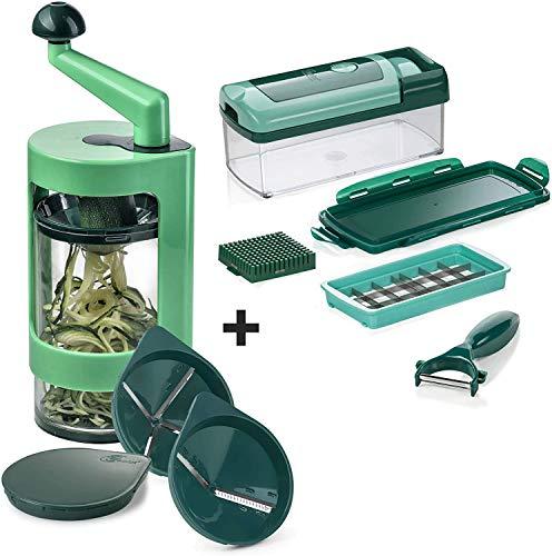 Genius A21125 SPI Super Julietti Spiralschneider inkl. Nicer Dicer | Gemüsespaghetti & Gemüsenudeln | Kartoffel/Zucchini/Gemüse/Spirelli Schneider | Küchen Gadget, Kunststoff
