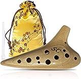 Okarina aus Holz mit 12 Löchern, Sopran C, Einzelkammer, Musikinstrument, Sammlerstück, Okarina-Instrument mit Reiniger, Mundabdeckung, Gurtband und Kordelzugtasche (Ahorn)