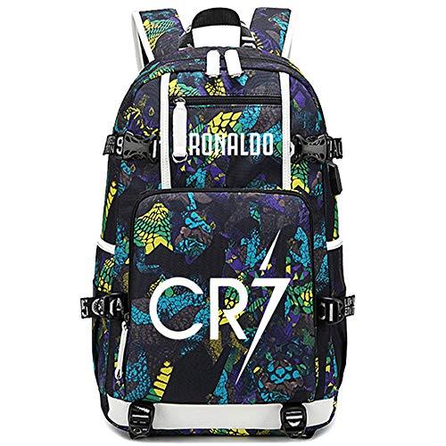 Lorh's store Fußballer Star Cristiano Ronaldo leuchtender Multifunktionsrucksack CR7 Reisestudentenrucksack Fußballfans Büchertasche für Männer Frauen (B-Muster 2)