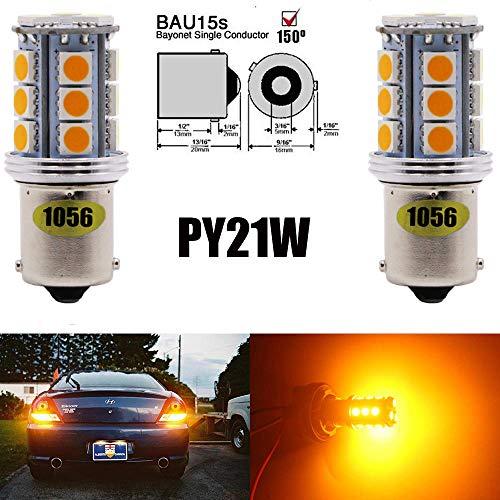 Alopee Paquete 2-1056 BAU15S 7507 12496 5009 RY10W Luz LED ámbar/Amarilla Extremadamente Brillante, 10-30V-DC Bombillo Sustitución 5050 18 SMD para Lámpara de Luz Trasera Luces de Giro