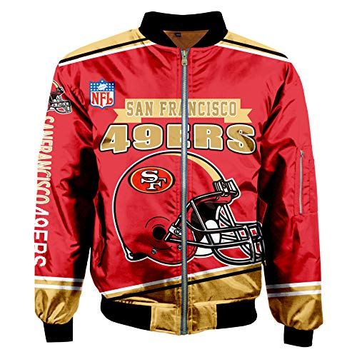 Football NFL Super Bowl Champions Jackets Mens Autumn Winter Outdoor Sports Big Size Outerwear Coats (San Francisco 49ERS,L)