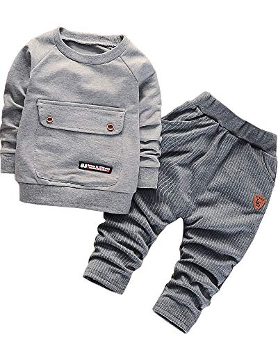 2016 Baby Boys Kids 2 Pieces Fall Clothing Set T-Shirt Pants Outfits(Grey,2-3 Years)